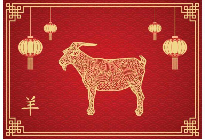Plakat chiński znak zodiaku koza