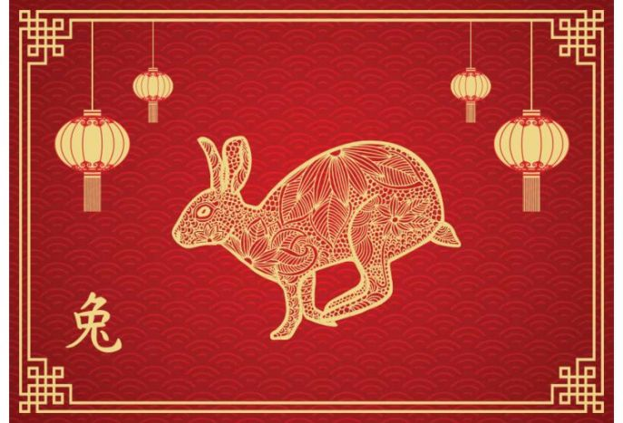 Plakat chiński znak zodiaku królik