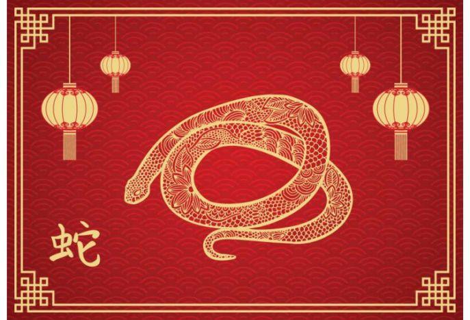 Plakat chiński znak zodiaku wąż