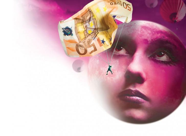 pieniądze, twarz, księżyc
