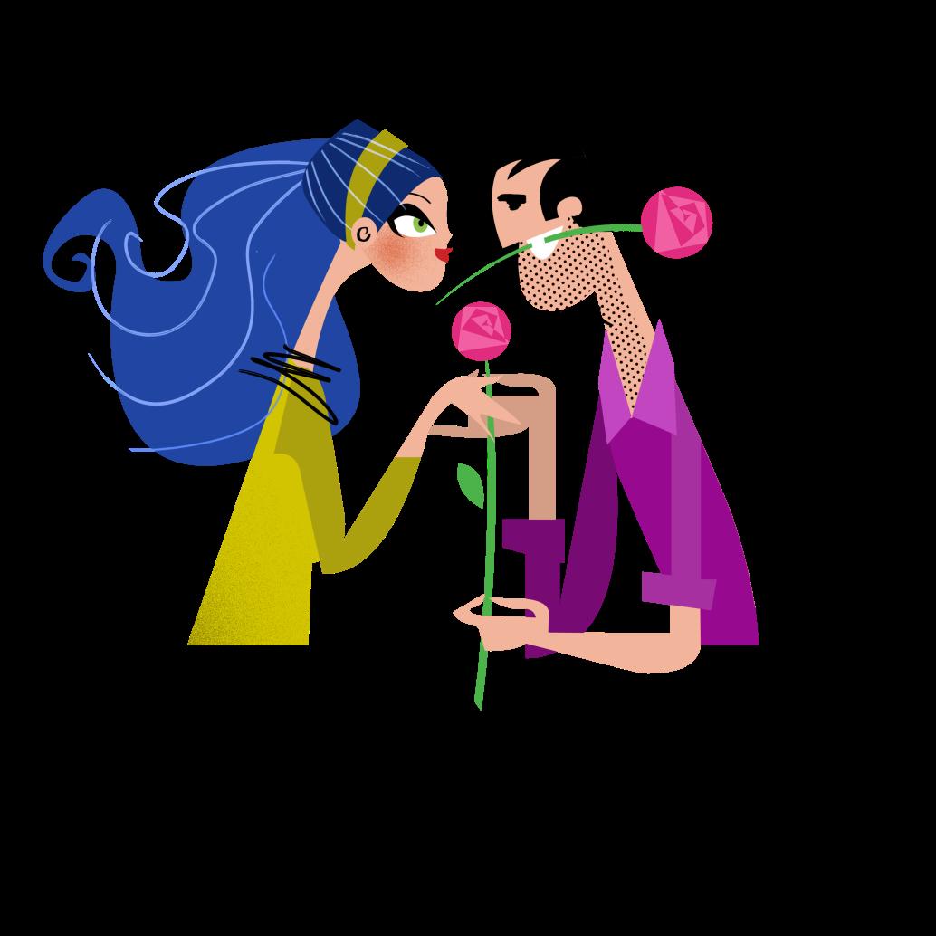 ilustracja, miłość, dziewczyna, chłopak, kwiat