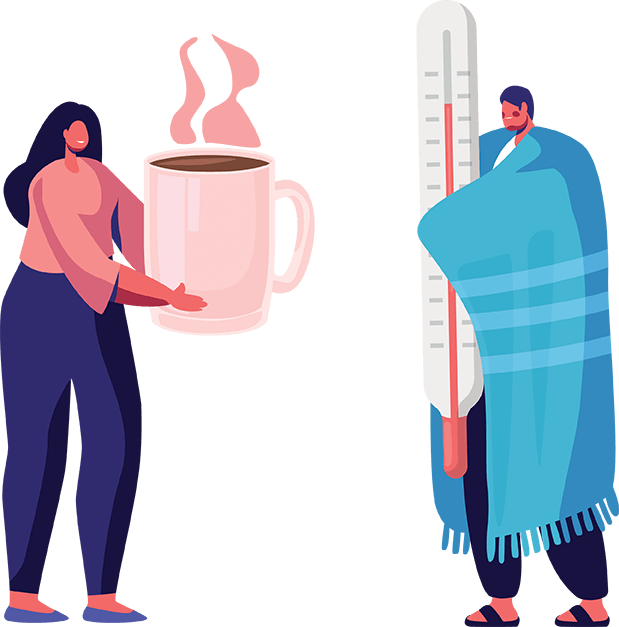 kobieta podaje choremu napój