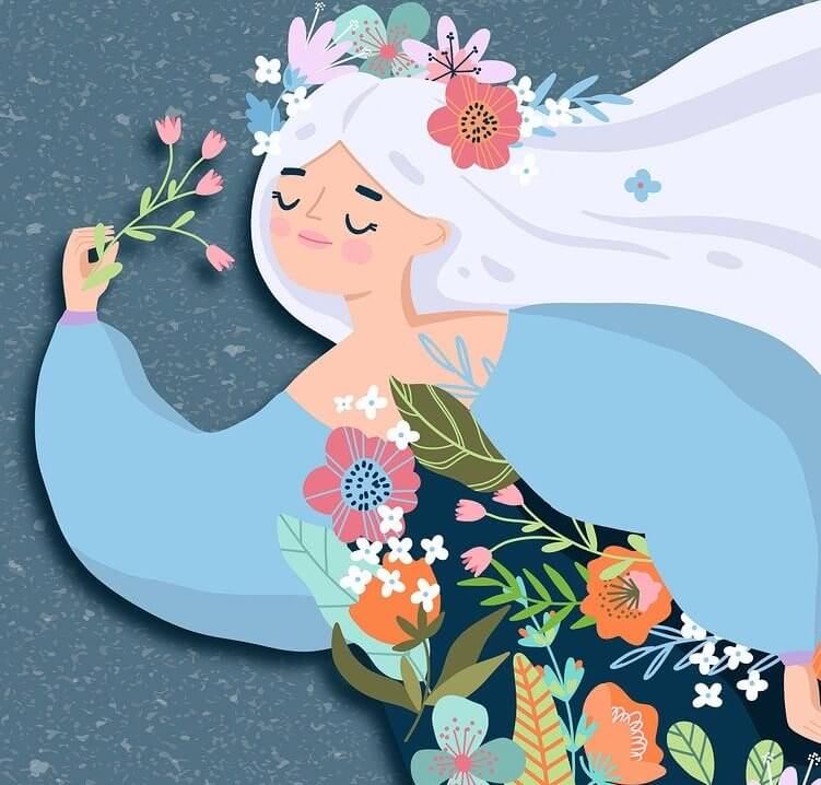 kobieta z kwiatami
