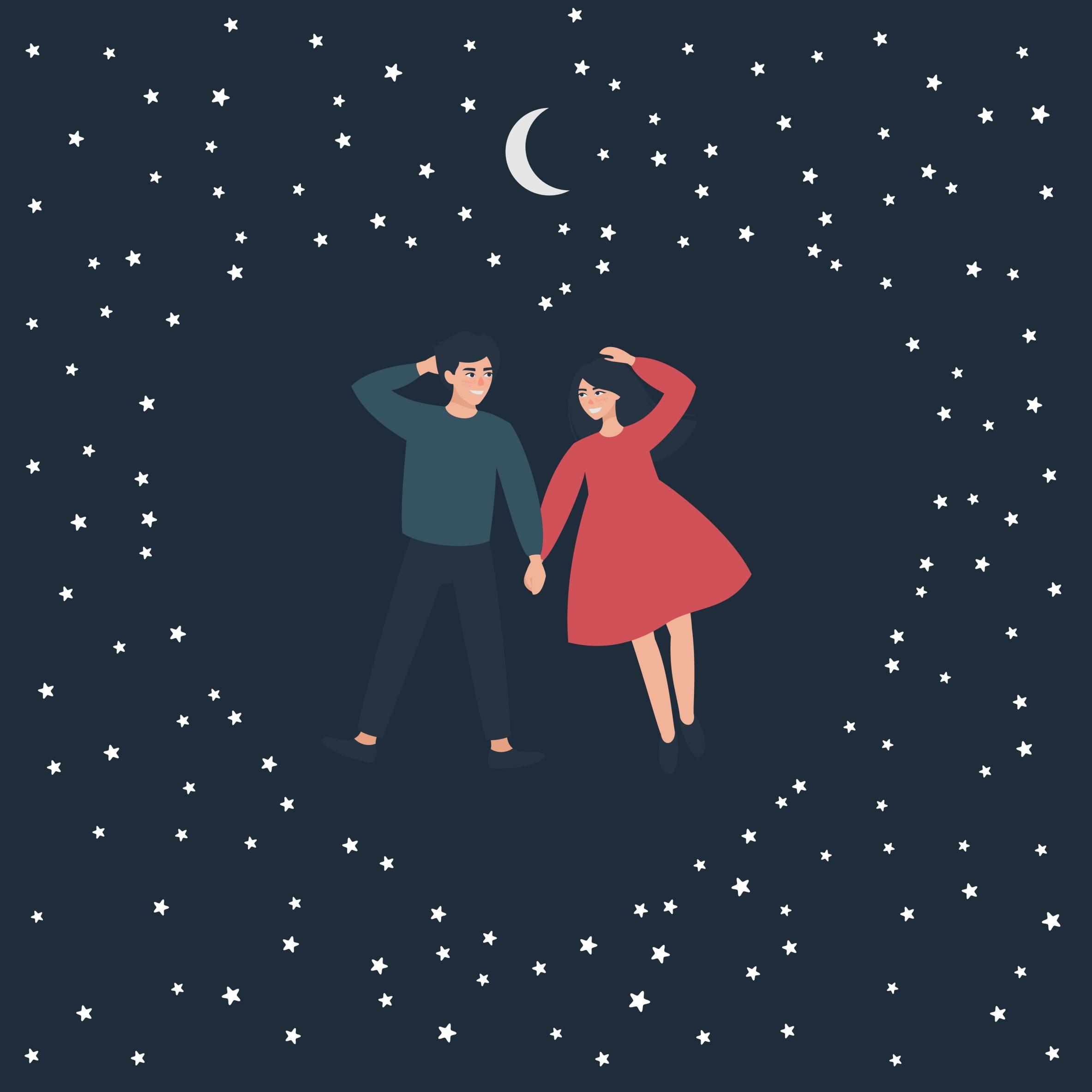 kochankowie na tle gwiazd, dziewczyna, chłopak, miłość
