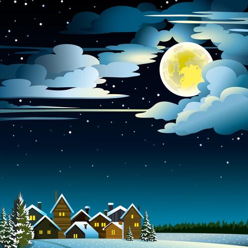 pełnia, księżyc, zima