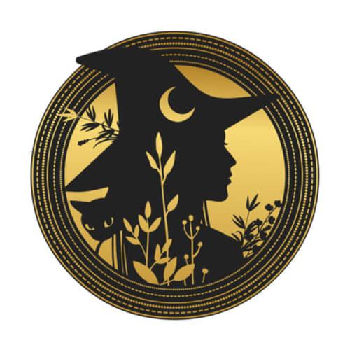 czarownica na tle księżyca, kobieta w spiczastym kapeluszu