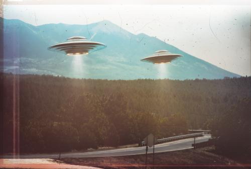 UFO, droga, krajobraz