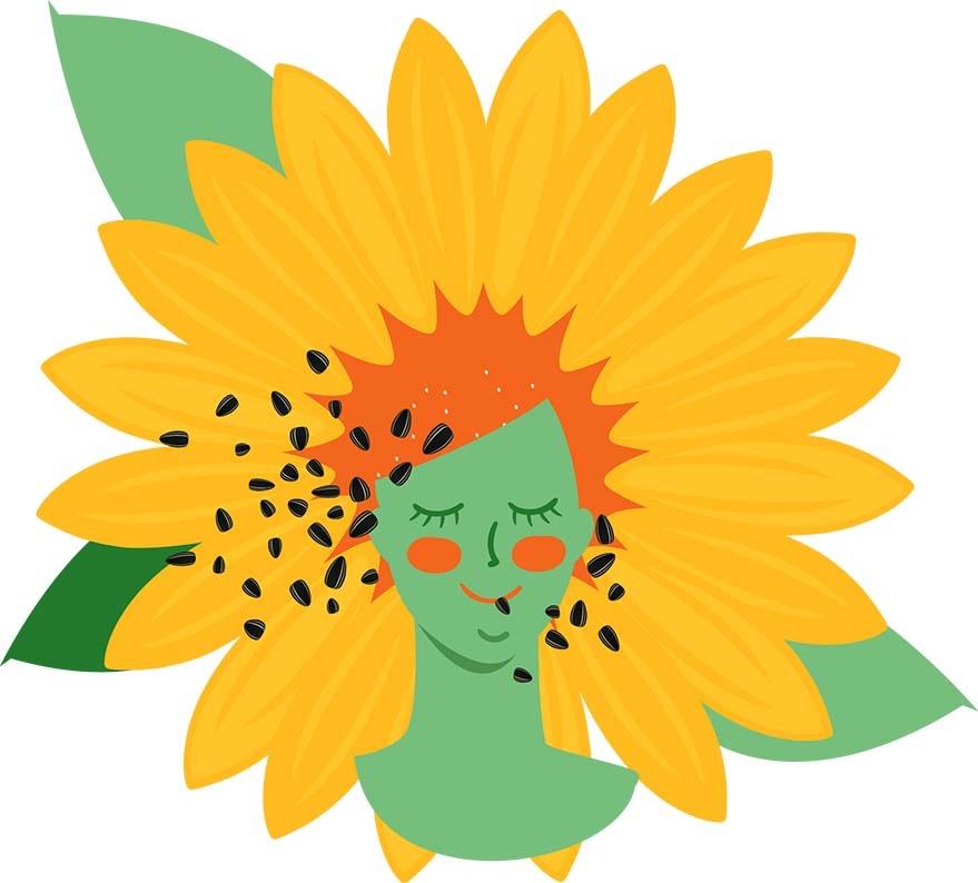 słonecznik, twarz kobiety