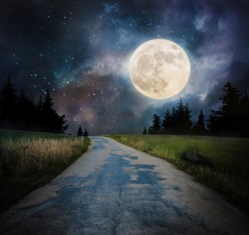 droga, pełnia księżyca