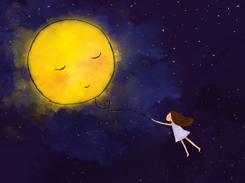 dziewczyna, słońce, balonik