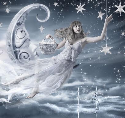 Nów księżyca, kobieta, gwiazdy