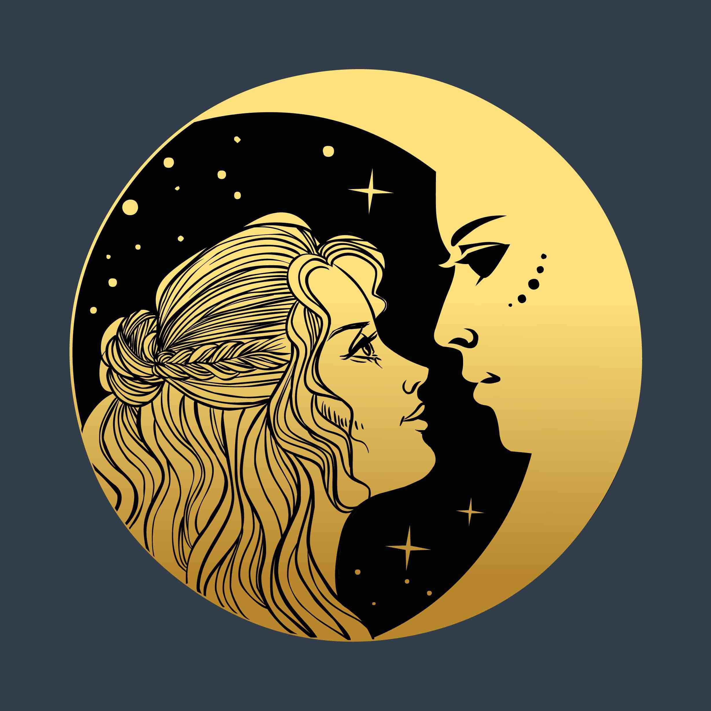 księżyc, twarz kobiety