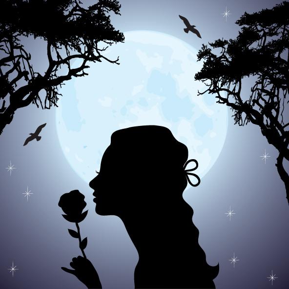 pełnia, kobieta wącha kwiat