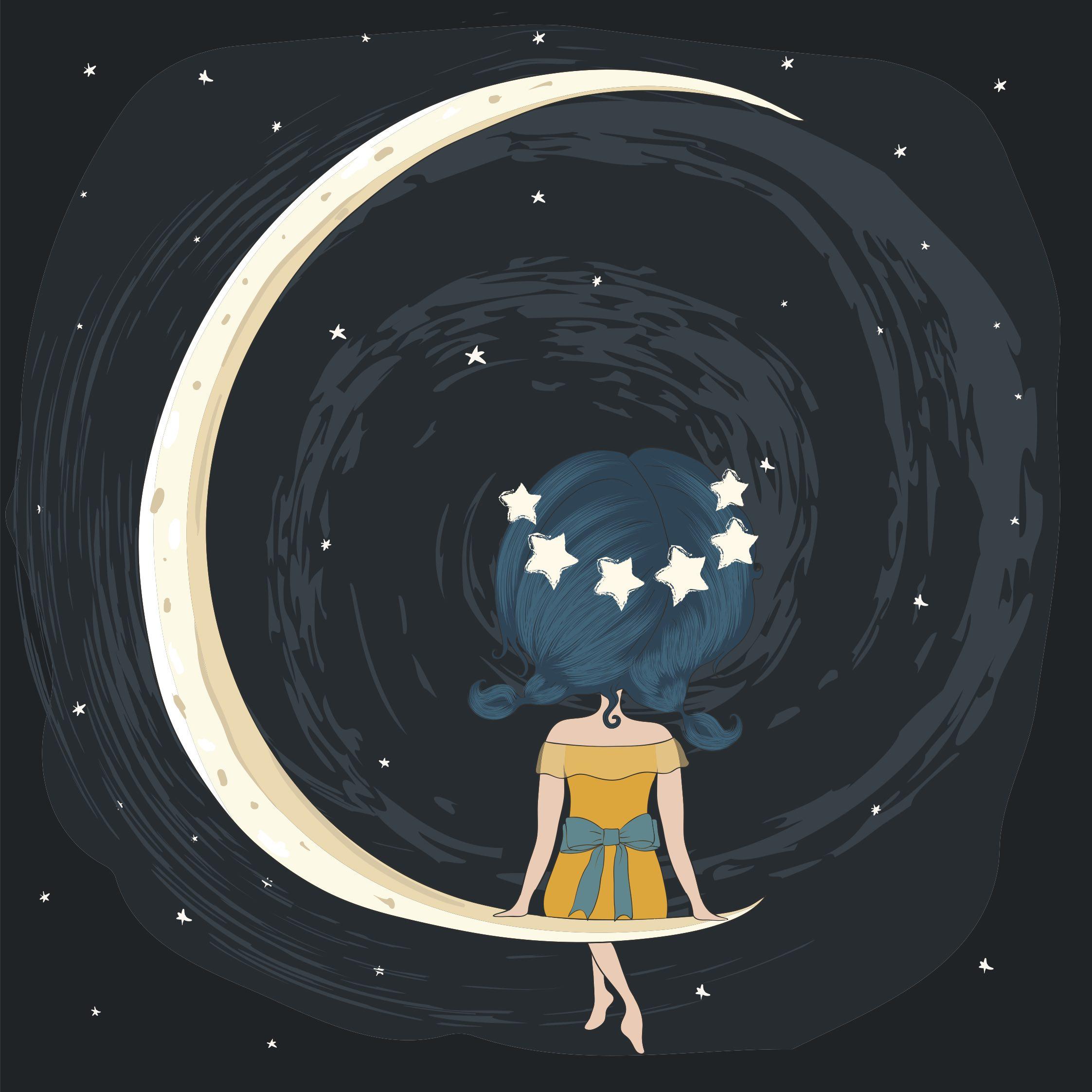 dziewczyna, ksieżyc, kosmos